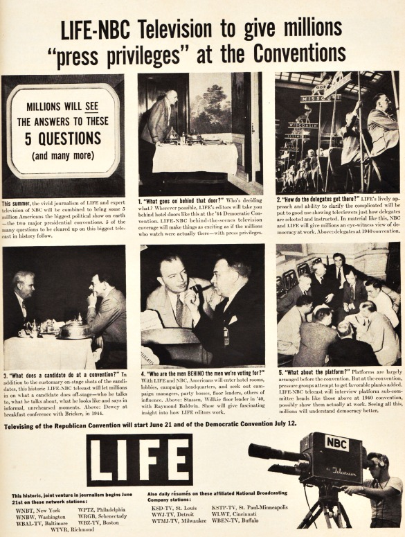 Vintage ad for Life NBC Television coverage of the 1948 Conventions