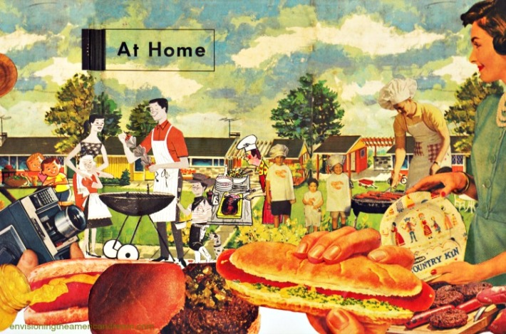 Suburbia Barbecue collage sally edelstein