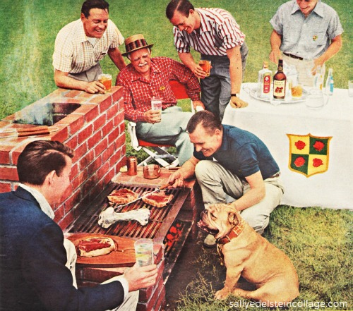 reto men surrounding baxkyard barbecue 1950s