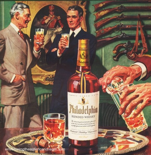 Vintage illustration Philadelphia Whiskey Ad