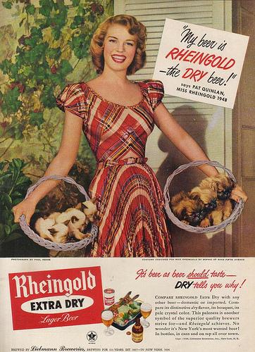 Vintage Rheingold Beer ad . Miss Rheingold Pat Quinlan 1948