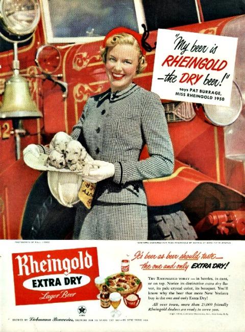 Vintage Beer ad Miss Rheingold 1950