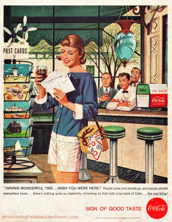 Vintage Coke Ad illustration vacationer sending Postcards