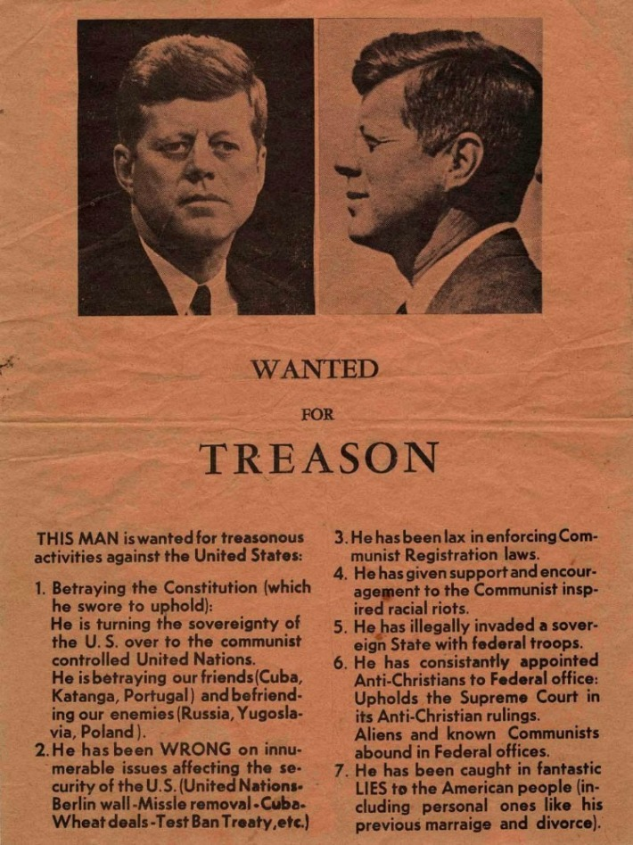 JFK Wanted For Treason flyer 1963