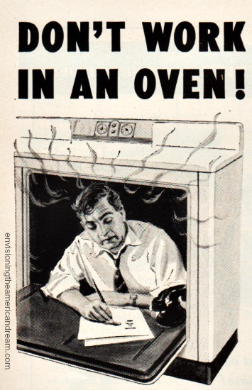 Vintage Illustration man working in an oven