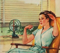 vintage illustration woman and fan