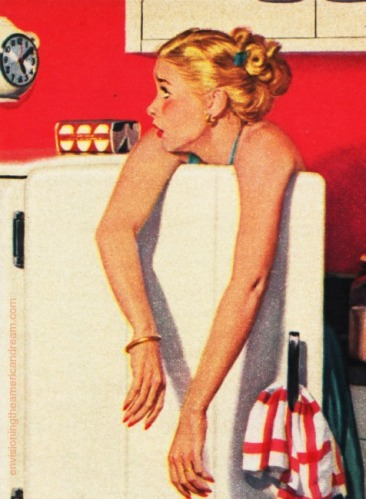 Vintage Illustration woman in refrigerator