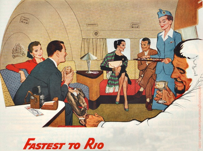 Vintage Pan Am ad passengers in plane