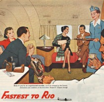 vintage illustration 1950s airplane passengers
