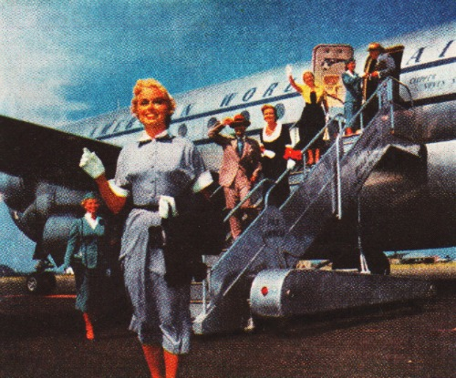 Vintage passenger getting off Pan Am airplane