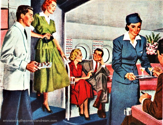 vintage illustration passengers on Pan Am