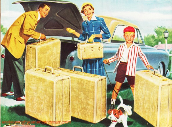Vintage family leaving on  vacation Samsonite luggage ad