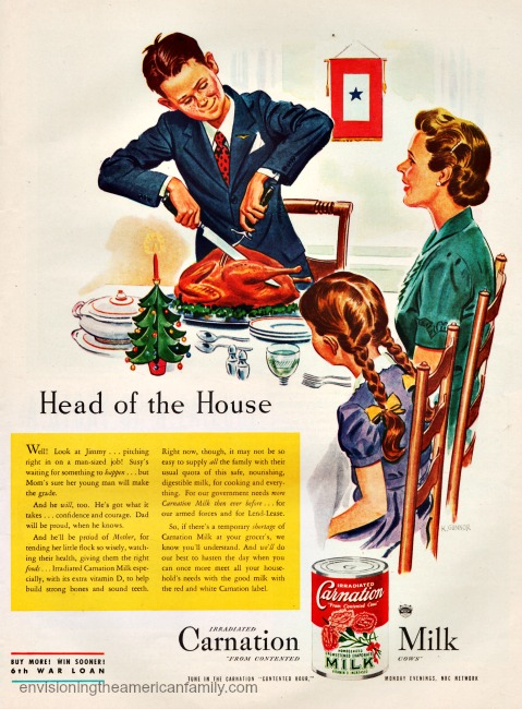 Vintage WWII ad illustration family at Xmas dinner