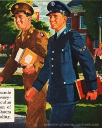 Vintage Illustration soldiers at college