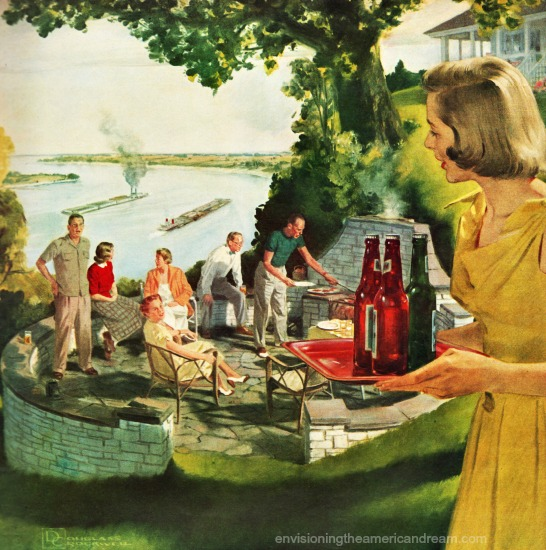 vintage beer ad illustration 50s housewife hstess