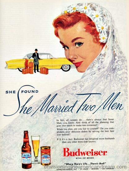 vintage Budweiser beer man illustration bride