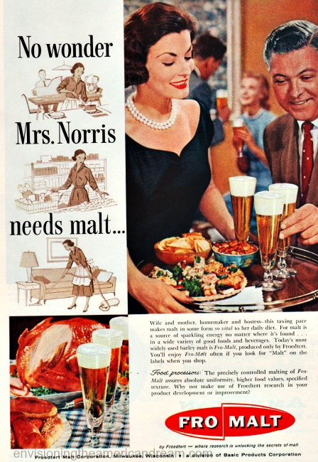 vintage ad 1950s woman serving beer