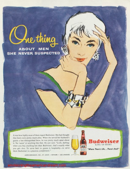 vintage beer ad Budweiser 1955 Housewife illustration