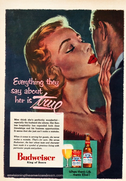 vintage Budweiser beer ad illustration woman kissing husband