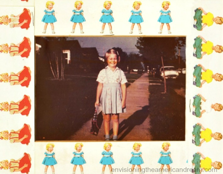 vintage photo Sally Edelstein in suburbs off to school