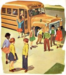 Vintage School Book Illustration school bus