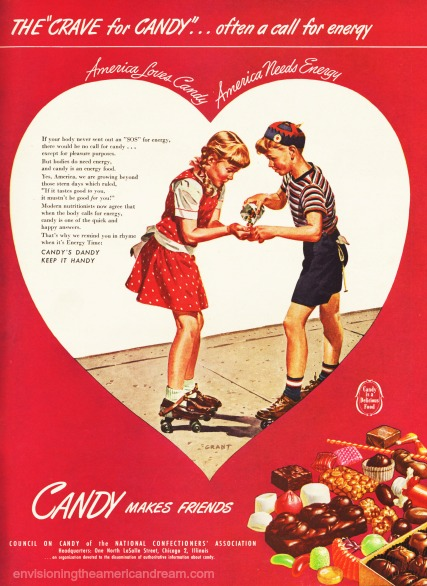 vintage ad illustration children eating candy 1946