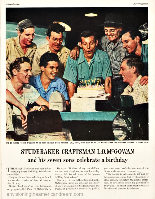 vintage ad Studebaker family of factory workers celebrating