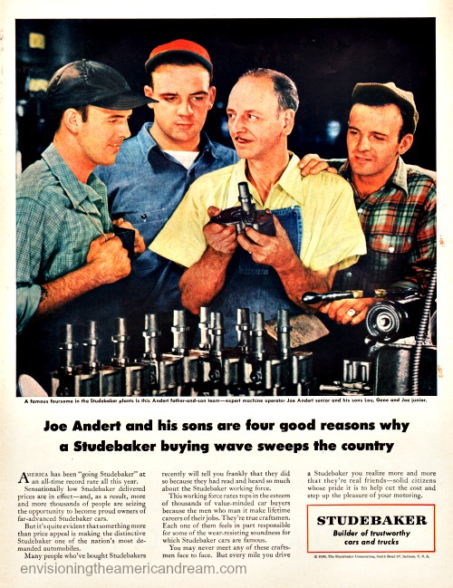 Vintage Studebaker advertisement 1950 factory workers