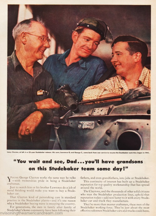 vintage ad Studebaker car factory workers