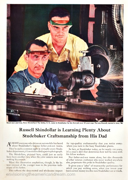 vintage ad auto workers at factory