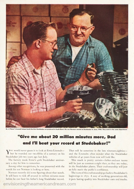 vintage ad Studebaker cars factory workers auto