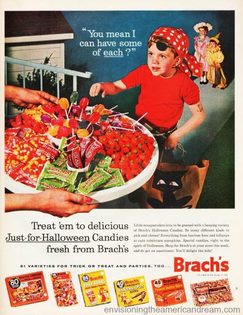 vintage ad Halooween trick or treaters 1950's