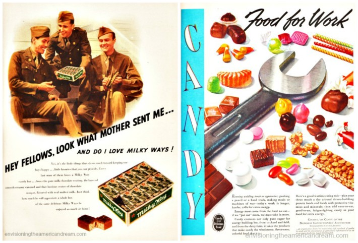 vintage WWII ads for candy