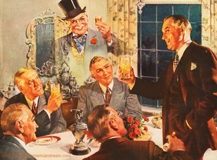 vintage illustration men toasting