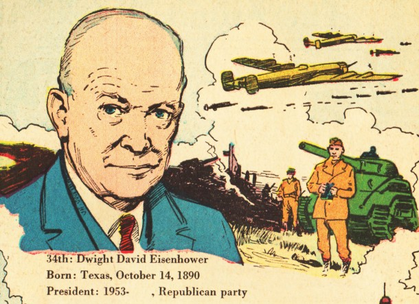 american-presidents-eisenhower-comics-vintage illustration