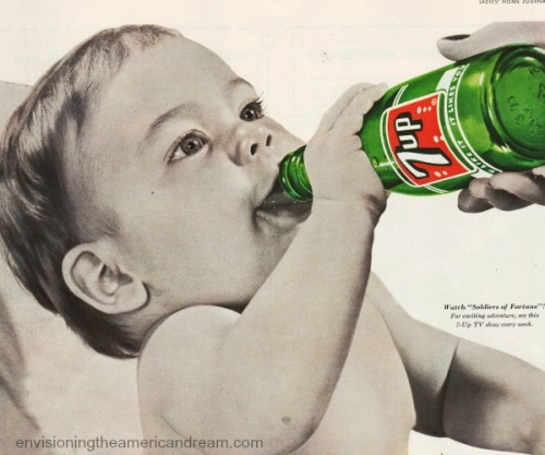 baby drinking soda bottle beverages-7-up-1955-