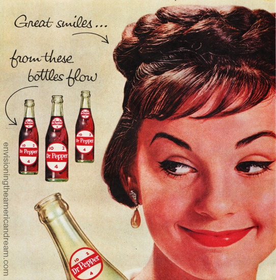 vintage woman drinking Dr Pepper