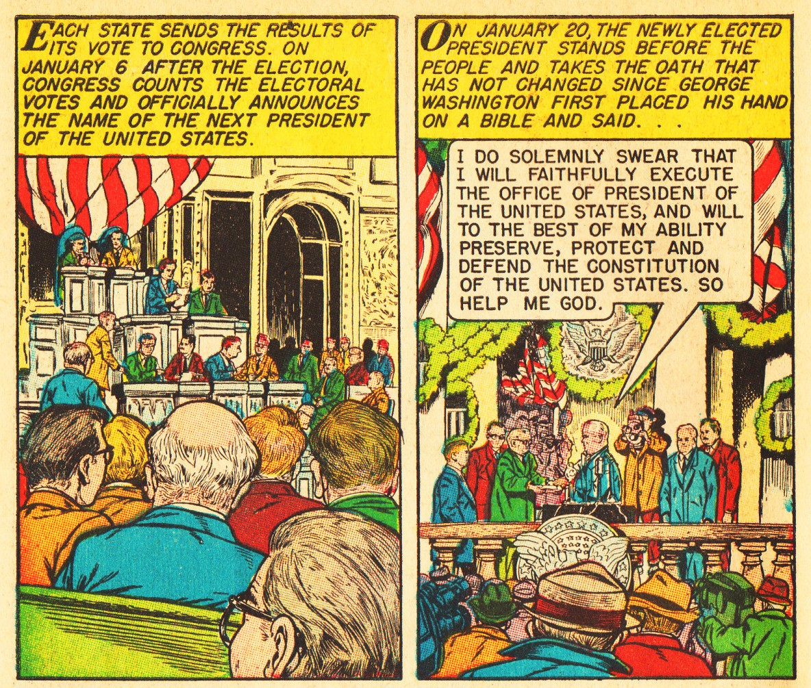 vintage comics electing the president