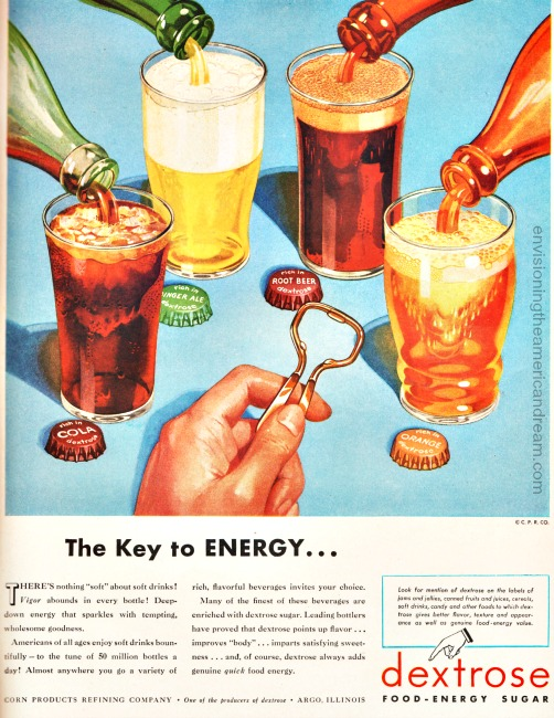 vintage ad illustration gasses of soda