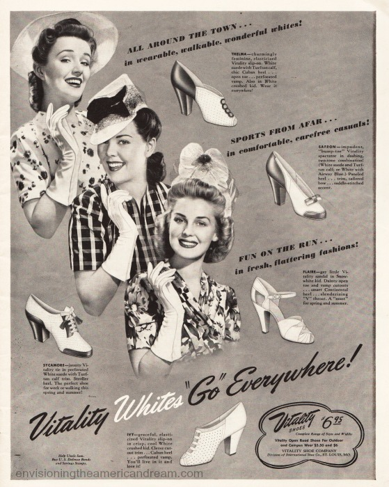 Vintage Ad Summer white shoes 1940s