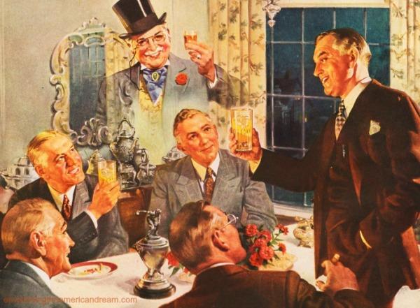 vintage illustration men toasting each other