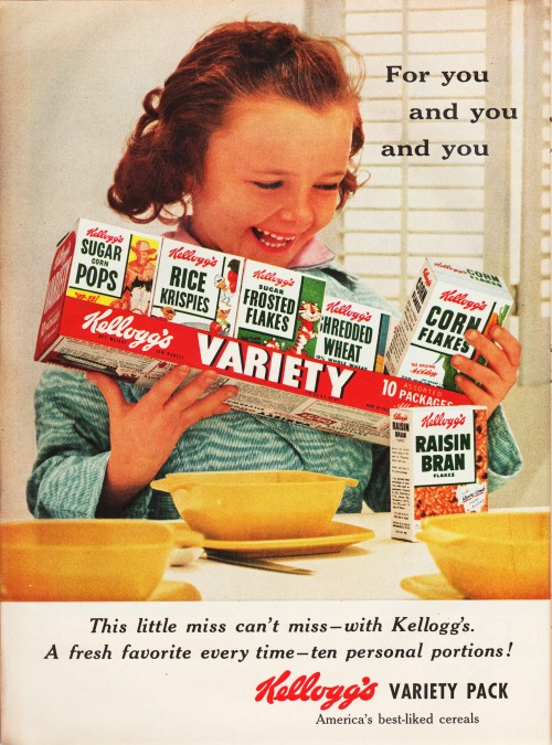 Kelloggs Cereal ad vintage girl and boxes