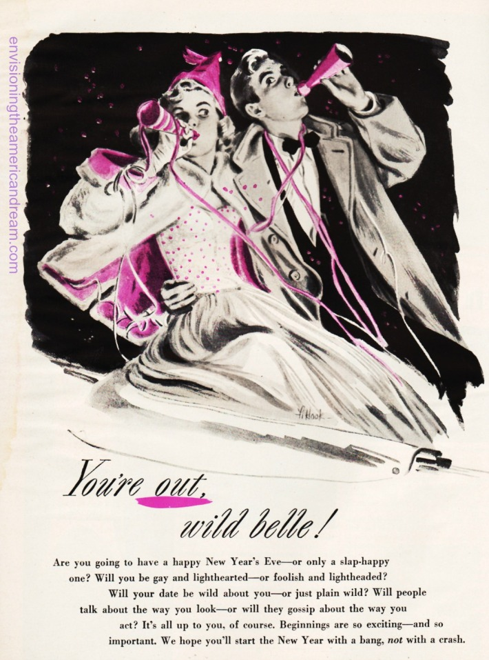 new-years-eve-1949 vintage illustration