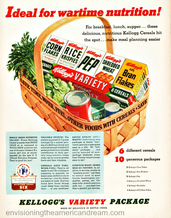 Vintage ad WWII 1943 Kellogg's Variety Cereals