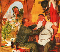 Vintage illustration WWII Soldiers Coke Xmas
