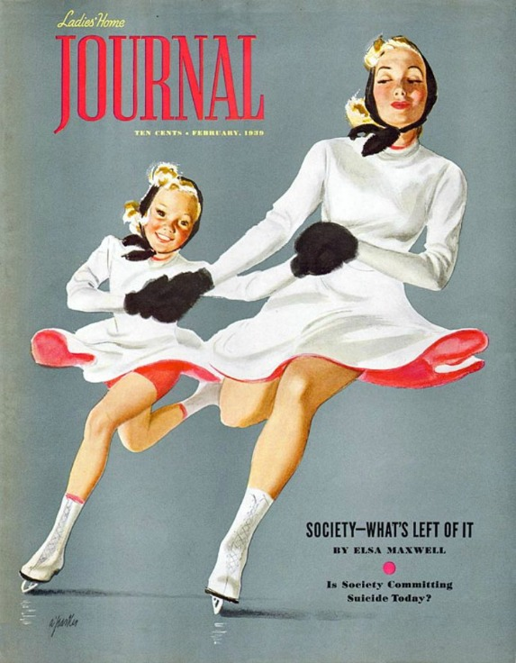 1Vintage Ladies Home Journal Cover Illustration Al Parker mother daughter skating