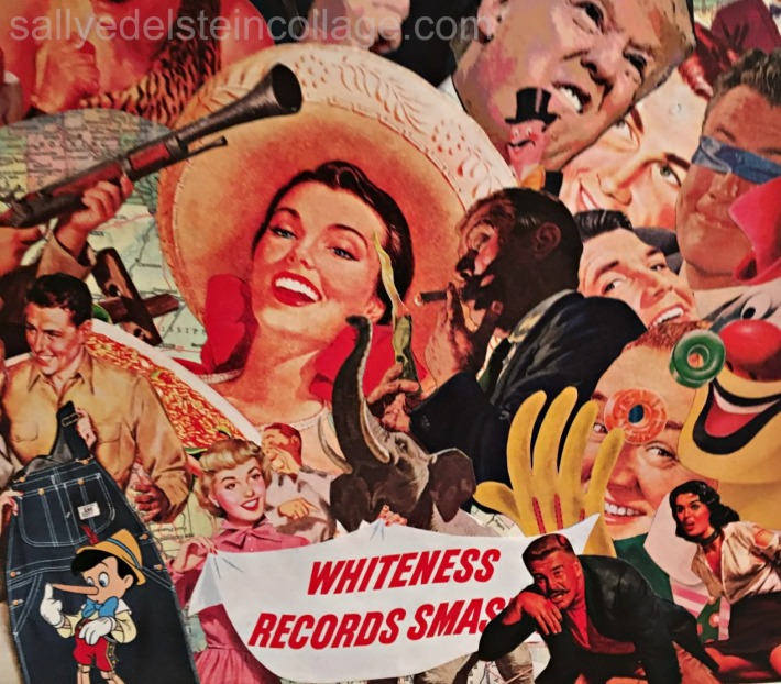 """There's a Sucker Born Every Minute"" by Sally Edelstein Collage of appropriated images"
