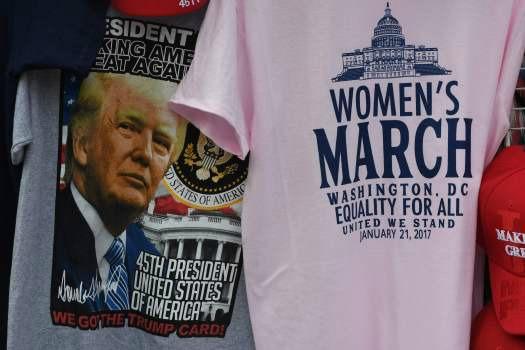 Trump merchandise and womens march merchandise