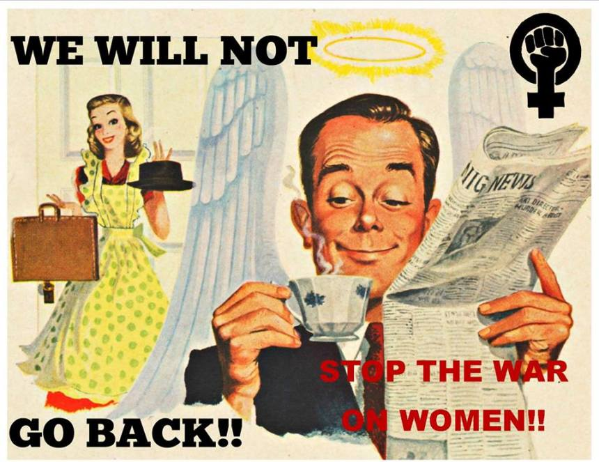 war-on-women-vintage illustration womens march on washington poster