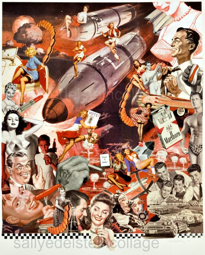"Collage of appropriated images Sally Edelstein ""Supersizing the Superpower"""